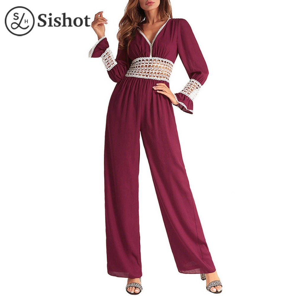 SISHOT Jumpsuits Women Summer V neck Long Cuff Sleeve High Waist Bodysuit Backless Lace up OVERALLS Patchwork Wide Leg Playsuit