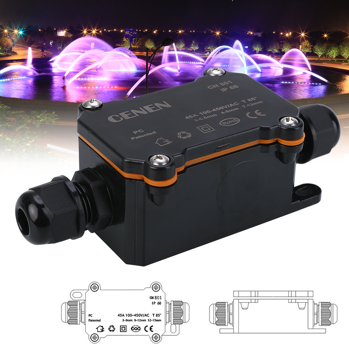 2 Way Outdoor Waterproof IP68 Electrical Cable Wire Connector Junction Box For Low/High Voltage Garden Light Accessories