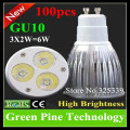 100 pcs Dimmable 3X2W 6W GU10 E27 MR16 E14 B22 GU5.3 LED Spotlightg lamp Downlight bulb LED Lamp LED Light droplight Lighting