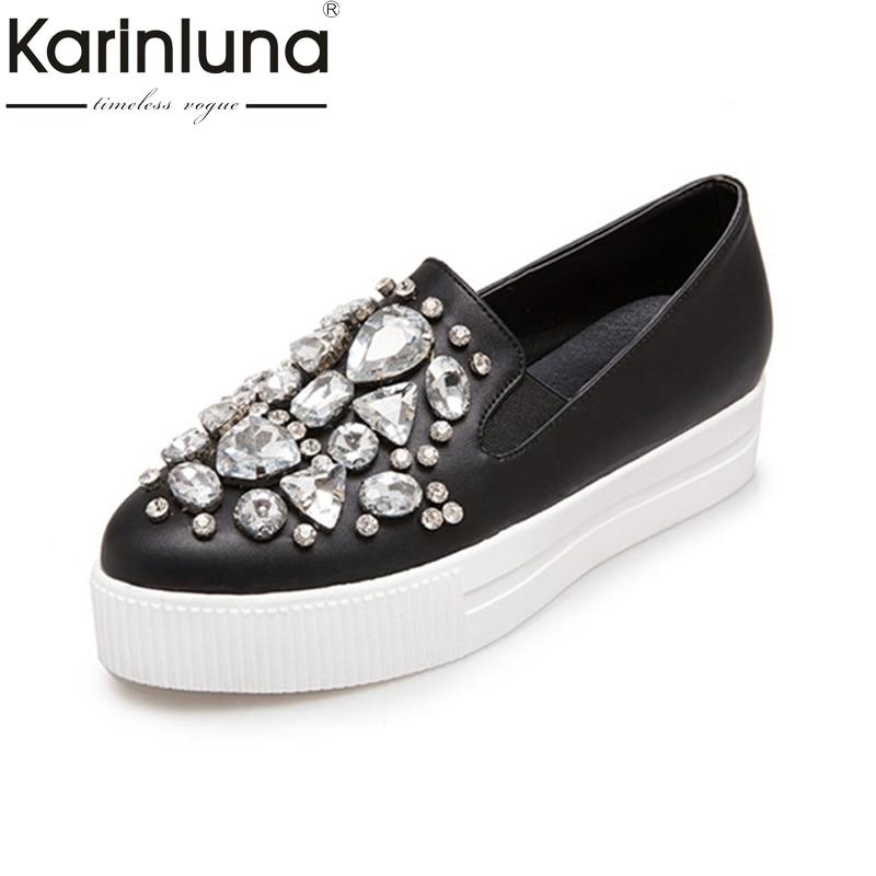 Hot Ladies Women Rhinestone Shoes Spring AutumN Summer Slip On Pointed Toe Thick Platform Flats