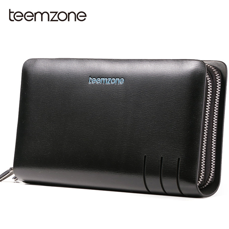 Teemzone Luxury Genuine Leather Men Clutch Bag Leather Wallet Card Holder Coin Purse Double Zipper Male Business Wallets S3310 ograff genuine leather men wallet clutch male wallets business card holder coin purse mens luxury wallet men s passport package
