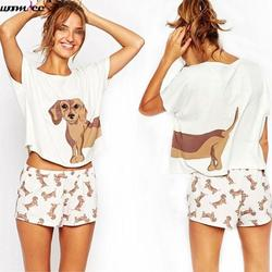 Two pieces set women tracksuit summer shorts set cute dog dachshund print crop tops shorts female.jpg 250x250