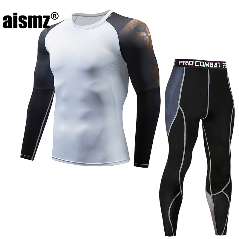 Aismz Moletom Masculino Tracksuit Men mma rashguard mens multi-functional fitness pants+T-shirt set 3D print mens rashgard kit