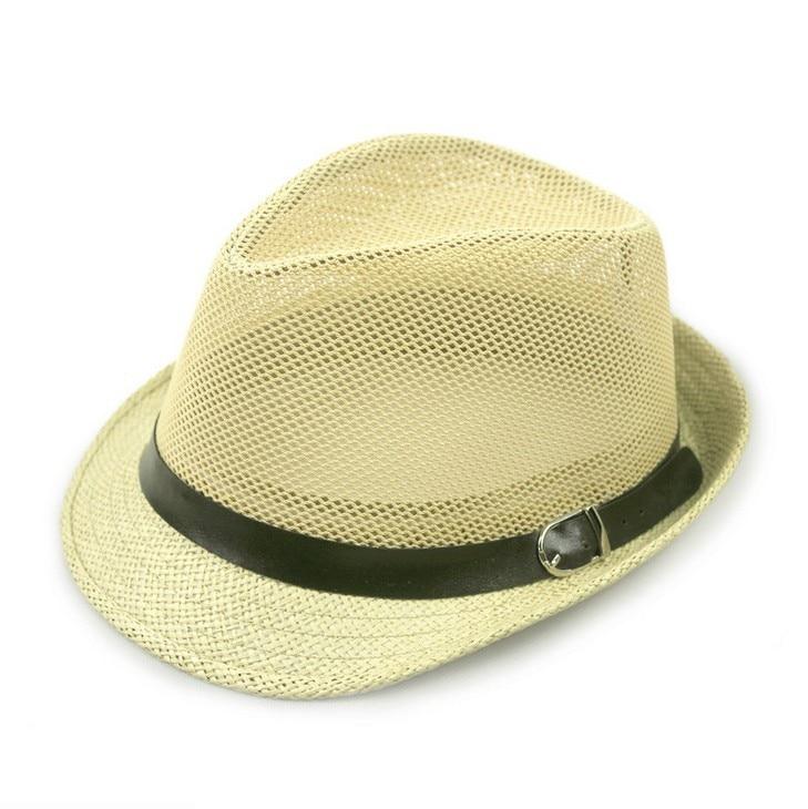 Kagenmo дышащая сетка ремень пряжка летняя соломенная мужская шляпа Корейская пляжная соломенная шляпа женская шляпа солнцезащитный козырек крутая 6 цветов 1 шт - Цвет: E