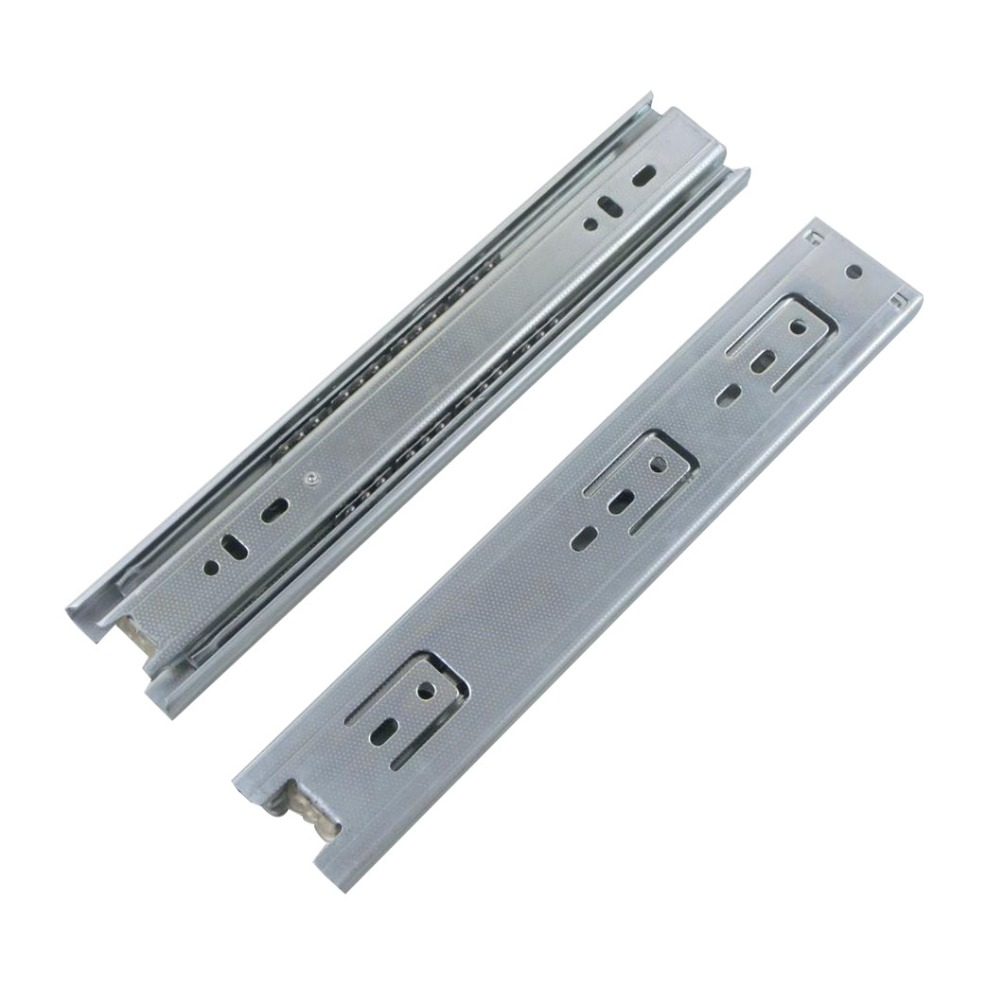 2pcs 10inch Drawer Slides 45mm Width Cold-Rolled Steel Fold Telescopic Drawer Runner Ball Bearing Furniture Cabinet Sliding 10 inch 20 inch large 50c triple pumping track muffler bearing drawer slides ball three sections