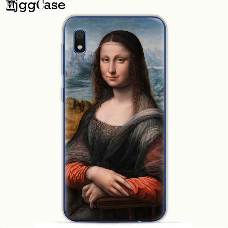 Mona Lisa drôle Spoof D'art étuis pour samsung A10 A20 A30 A50 A70 A6 A8 A7 A9 S10 S10e Plus 2018 Van gogh Étoilé TPU Couverture de Téléphone