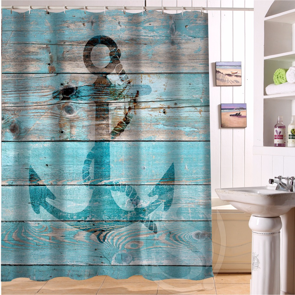 H P030 Wood And Anchor #20 Custom Shower Curtain Bathroom Decor Various  Sizes Free