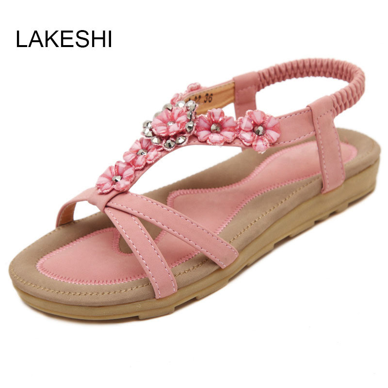 LAKESHI Women Sandals Flowers Sweet Summer Shoes Women Flat Sandals Beach Shoes Plus Size 40 41 slippers female summer 2016 new version for casual shoes women flat sandals sweet flowers beach shoes free shipping