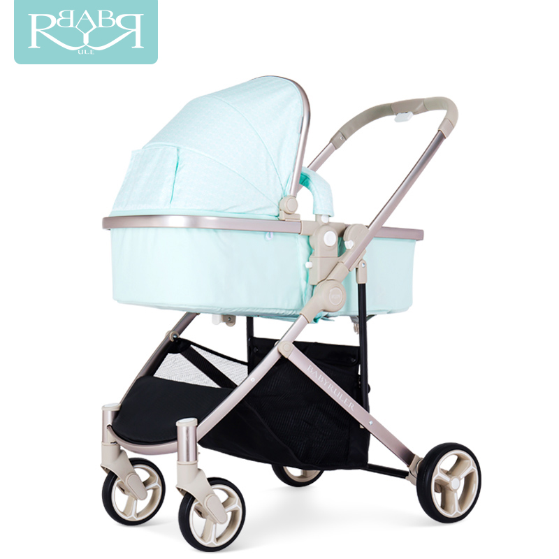 BABYRULER high-profile baby stroller kids trolley can sit one-way two-way one-click fold BB carriage high profile luxury baby stroller can sit can lying baby carriage hand can adjustable trolley war ax wheel umbrella car