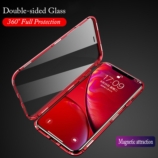 Front Back Glass for iPhone XS MAX Case Magnetic Luxury Metal Feame 360 transparent Cover for iPhone XR Shockproof 7 8Plus Flip