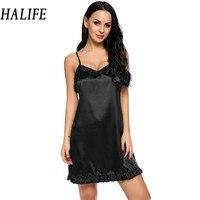 HALIFE Women Sexy Lingerie Satin Full Slip Ruffled Nightgown Nightdress Sleepwear With G String Night Dress
