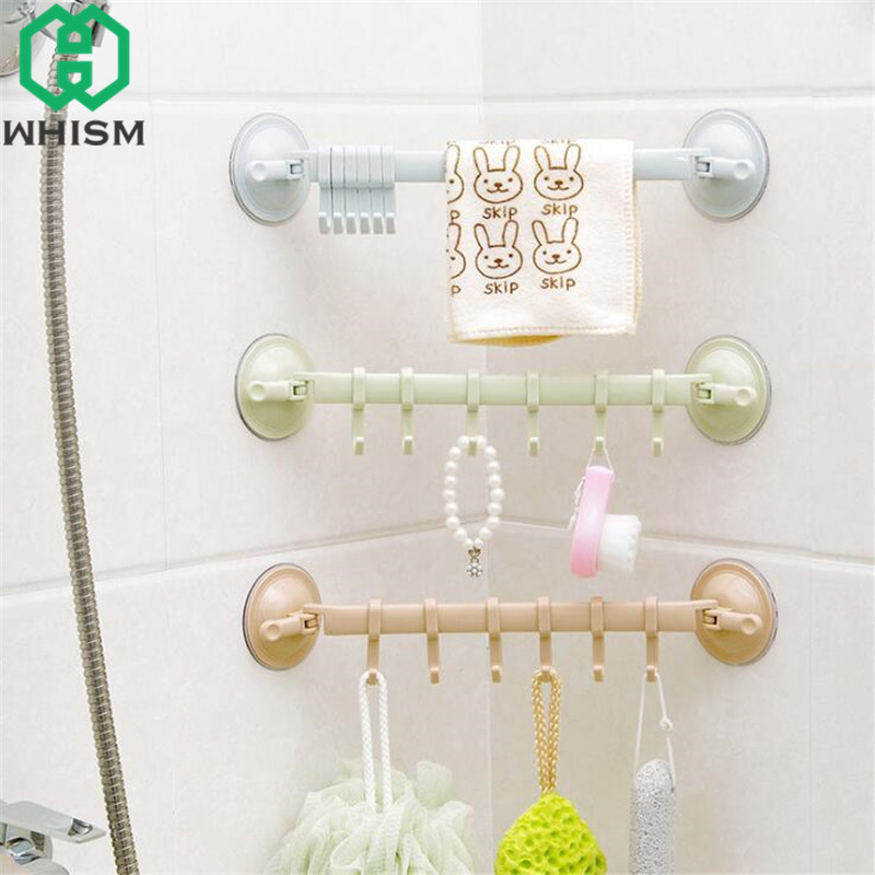 WHISM Adjustable Storage Rack Wall Hanging Sucker Hook Kitchen Hanger Bathroom Towel Shelf Plastic Vacuum Suction Cup Organizer ...