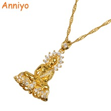 Anniyo Cambodian Style Garden Buddha Buddhism Pendant Necklaces With Cubic Zirconia Jewelry Thailand/Vietnam/Laos Gifts #048004