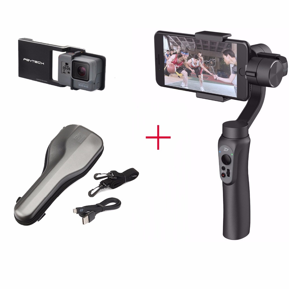 цена на Zhiyun Smooth Q 3-Axis Handheld Gimbal Portable Stabilizer + Smooth Plate + Bag for iPhone 7 6 6s,Handheld Gimbal for Smartphone