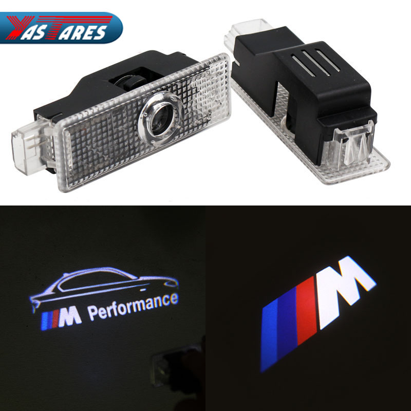 2X LED Courtesy Lamp Car Door Welcome Light 12V Projector Shadow For BMW E60 E63 E90 E92 E93 X1 X3 X6 M3 M5 M logo Accessories car styling for bmw m real carbon fiber handbrake cover fitting kit e87 e90 e92 e60 e63 e64 m5 m3 m tec