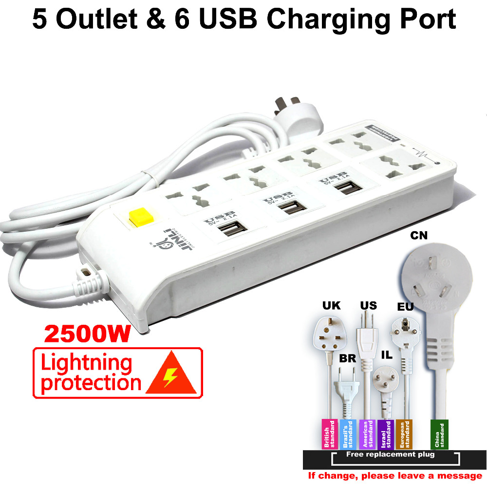 EU UK US type Universal Power Strip Socket and 6 USB Charger Ports with Lightning protection new south africa power and usb charger pop up desk socket 100 pcs set