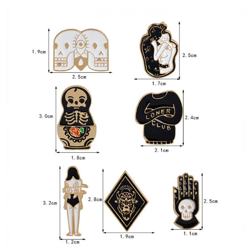 LNRRABC Creativo Del Cranio Bambola Totem Della Ragazza Del Fumetto Delle Donne Spille Denim Vestiti Distintivo Spilli Pulsante Regalo Dei Monili Spilla Delicato