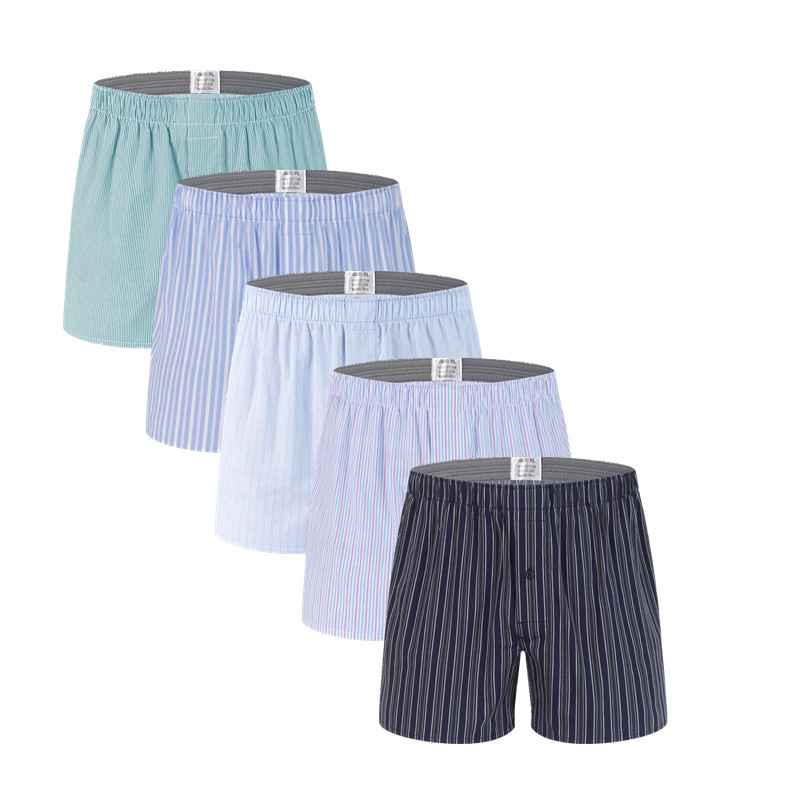 5 Pcs Mens Underwear Boxers Shorts Casual Cotton Sleep Underpants Quality Strip Loose Comfortable Homewear Striped Arrow Panties