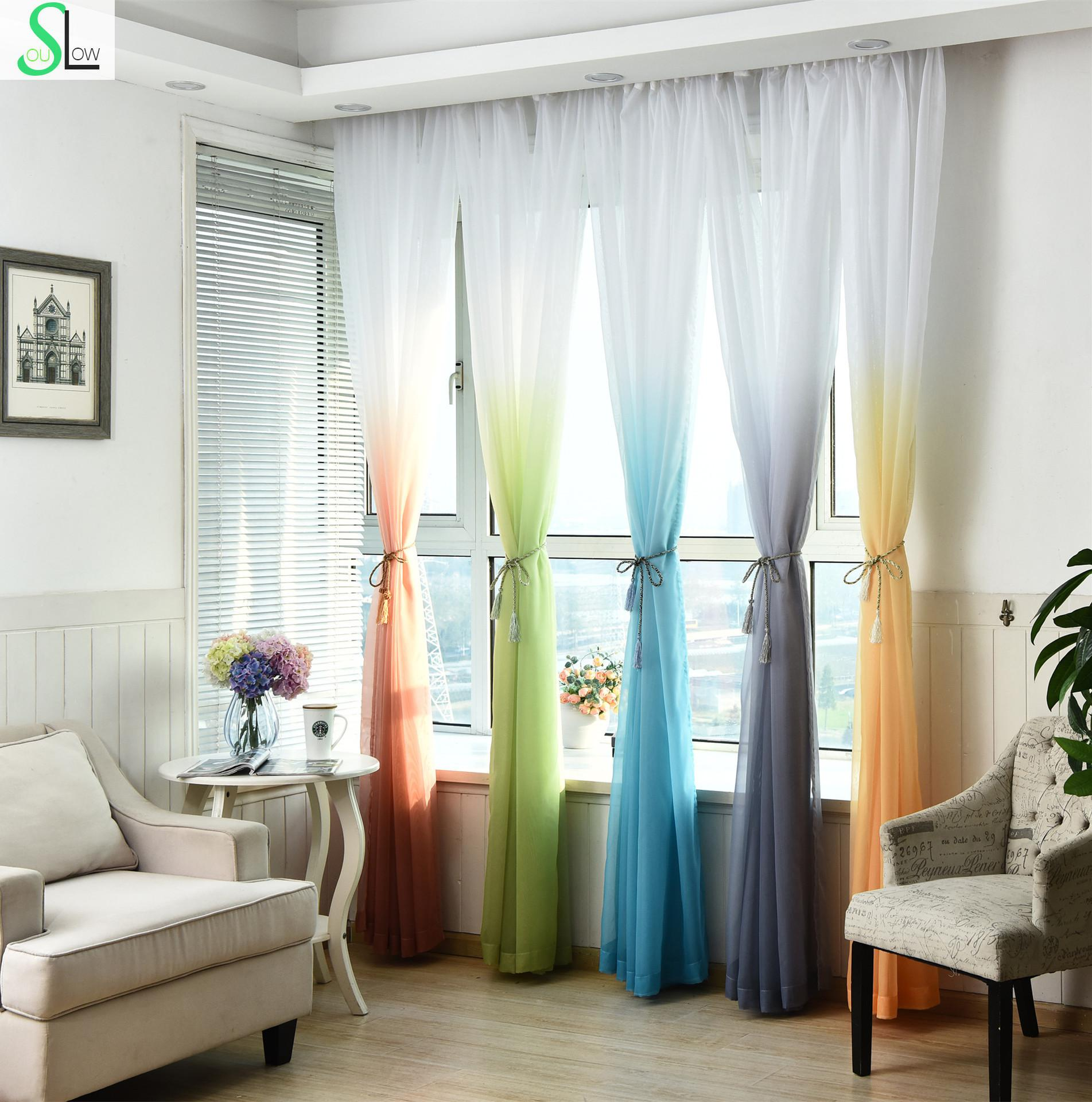 Orange curtains bedroom - Slow Soul Coffee Powder Light Green Blue Purple Orange Wedding Curtain Solid Tulle Curtains For Living Room Bedroom Decoration