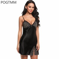POGTMM Summer 2017 Sleep Dress Women Sexy Spaghetti Strap Backless Satin Lace Nightgown Female Embroidery Floral