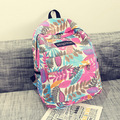 2016 folhas de impressão mochilas mulheres mochila mochila mochila sacos de lona moda retro ocasional bolsa de viagem saco de escola sacos para girs