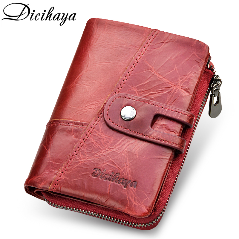 DICIHAYA NEW 2018 Genuine Leather Women Wallet Samll Women Leather Wallets Brand Coins Purse Red Leather Wallets Card Holder 2018 epic game gears of war logo wallets purse red leather man women new w135