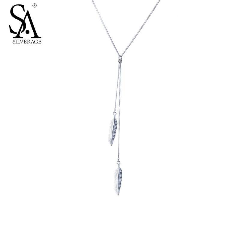 SILVERAGE Genuine 925 Sterling Silver Necklaces & Pendants Fine Jewelry Women Feather Tassel 2016 New Design Black Friday