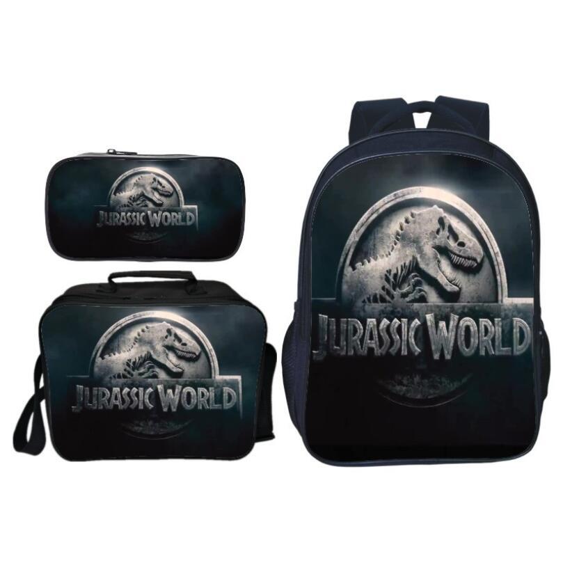 3Pcs/Set Popular Fashion Animal Printing Jurassic World Children School Bags Dinosaur Boys Backpack For Kids Schoolbag For Girls