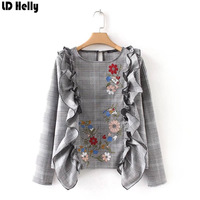 LD Helly 2018 Sweet Ruffles Plaid Shirt For Women Floral Embroidery O Neck Full Sleeve Blouse