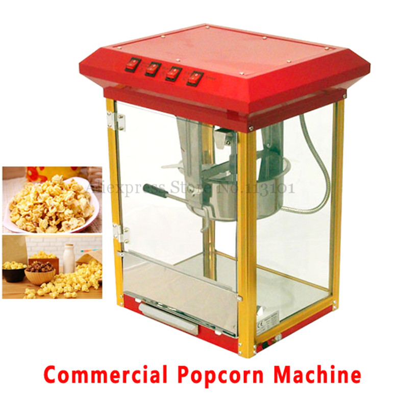 Commercial Popcorn Machine 6oz Popcorn Popper Red Color Popcorn Maker Machine Electric Heating Corn Popper pop 06 economic popcorn maker commercial popcorn machine with cart