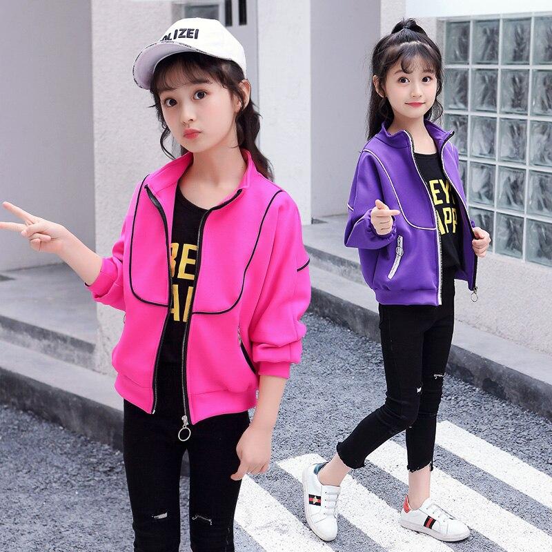 все цены на 2018 Latest Fashion Bomber Jacket for Girl Windproof Trendy Autumn Baby Girl Baseball Jacket Active Kids Children Coat 120-160