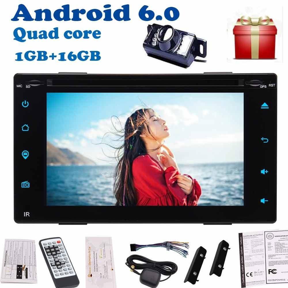 Double Din voiture GPS Navigation 6.2 ''Android 6.0 dans tableau de bord Quad core unité de tête lecteur DVD 2din automagnitol radio Bluetooth + caméra