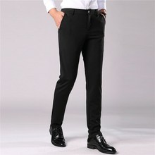 Work Pants Quality Cotton Men Straight Elastic Long Male Classic Business Casual Trousers Full Length Large Size 38