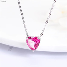 wholesale new-designed romantic 925 sterling silver natural pink topaz gemstone heart-shaped charm necklace pendant for female new 925 sterling silver delicate heart shaped ladies pendant trend accessories romantic couple pendants wedding gifts