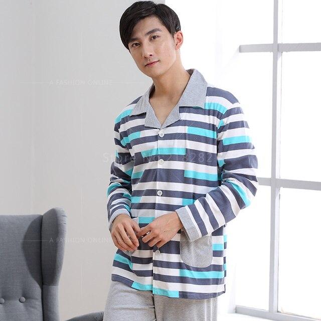 Spring Autumn Casual Stripes Men Pajamas Sets Cotton Cardigan Men's Loungewear Pyjamas Men Sleepwear Plus size 4XL Home Clothing