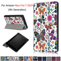 Чехол для Amazon New Fire 7, 2019, чехол из искусственной кожи с принтом для планшета Kindle Fire7 9 поколения, 2019