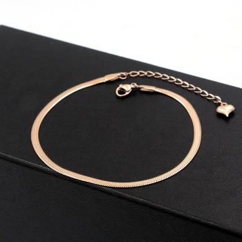 Fashion Simple Flat Snake Bone Chain Rose Gold Anklet Titanium Steel Women Feet Jewelry Anti-allergic 2