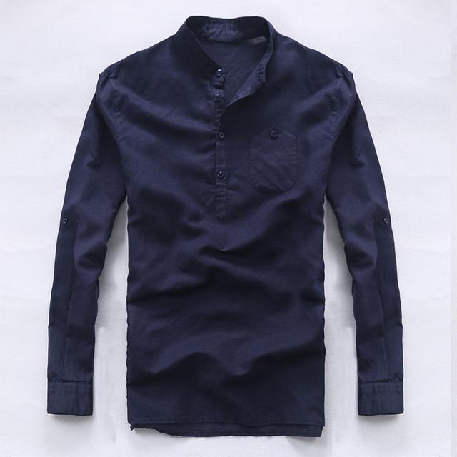 Italia marca camisetas de manga larga hombres Lino puro hombres camisa de  moda casual para hombre 397cf08036461