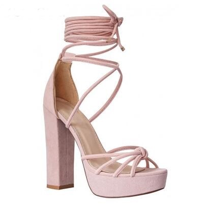 все цены на High Quality American and European Ankle Strap Peep Toe Ladies Sandals Lace up Hollow out Super High Heels Shoes онлайн