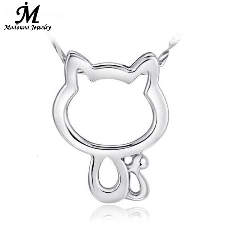 2016 New Arrivals Cute Necklace Pendant Hello Kitty Cat Animal Design Charm For Women Silver Plated Jewelry Girl Gift wholesale