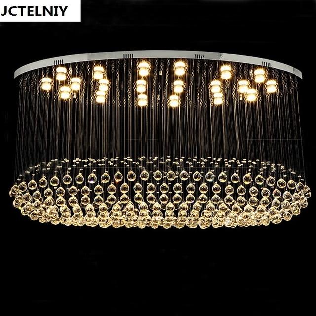 Modern Large Oval Shape Crystal Pendant Light Led Living Room Lamp Dining