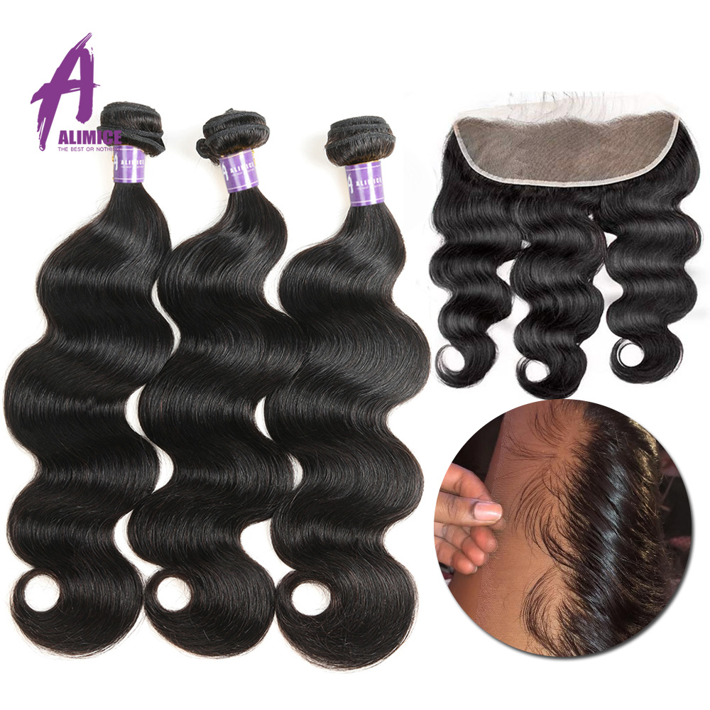 Alimice Indian Body Wave Human Hair Bundles With Frontal 13 4 Indian Hair Weave 3 Bundles