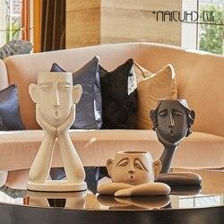 Nordic ceramica creativo volto umano set vaso di fiori decorazione della casa accessori artigianato decorazione della stanza di Arte Vintage fiori vasi