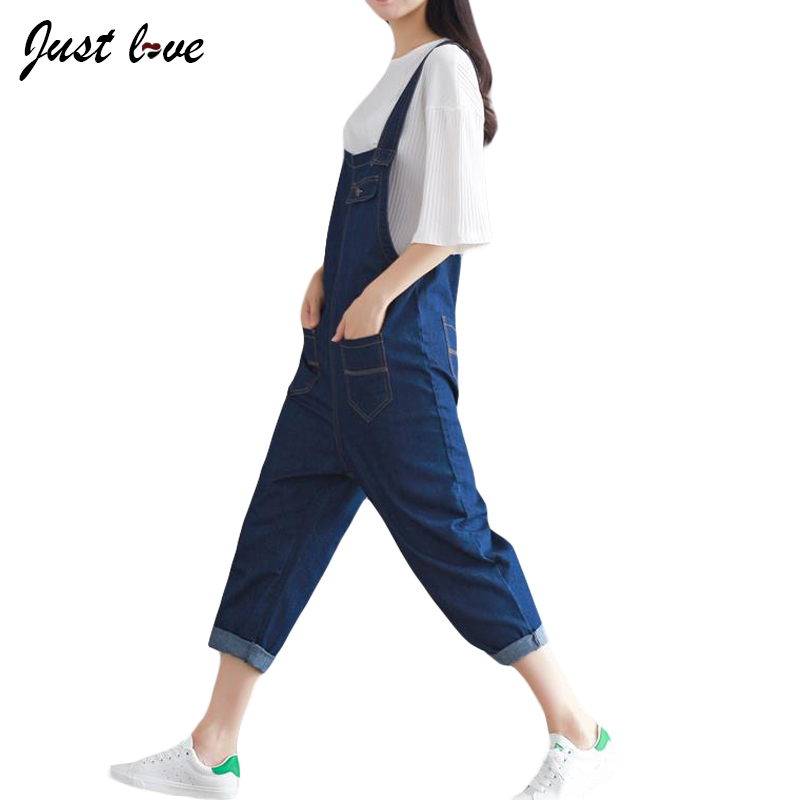 2017 New Spring Autumn Women Korean Casual Denim Overalls Loose Jeans Jumpsuits Spaghetti Strap Rompers for Women Bib Pants plus size pants the spring new jeans pants suspenders ladies denim trousers elastic braces bib overalls for women dungarees