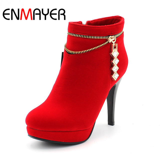 ENMAYER Autumn Boots Fashion Women's Square Heels Ankle-High Solid Style Boots Lady's Zip Round Toe Warm Winter Boots Shoes