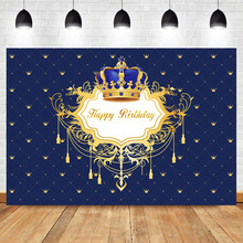 Neoback Baby Newborn Birthday Party Photography Background Royal Blue Golden Crown Backdrops Studio Shoot
