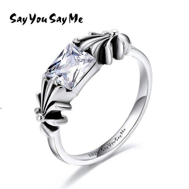 925 Sterling Silver White Zircon Rings Wholesale Silver Cute Flower Rings Weddin