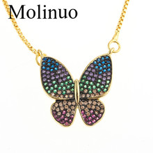 Molino charm pave color zirconia butterfly shape statement necklace fashion women pendant jewelry2019