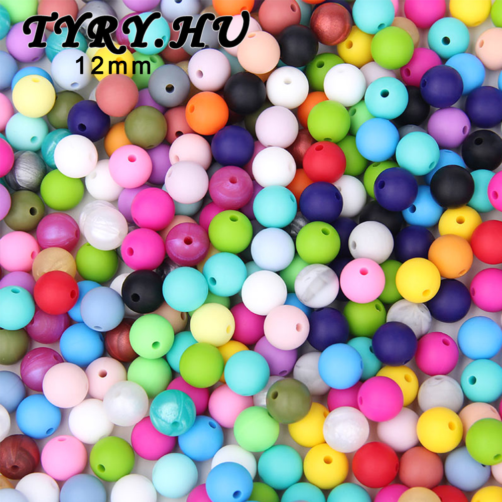 200pc BPA Free Baby Teether Accessories 12mm Food Grade Silicone Beads DIY Trendy Teething Necklace for New Moms Feeding Gifts