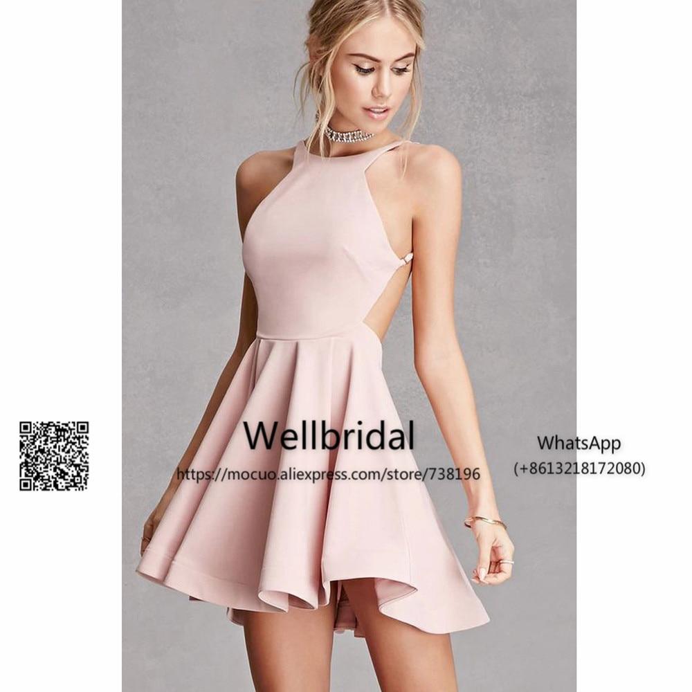 Simple Mini Dress 2017 Junior Bridesmaid Dresses Elastic Satin Off Shoulder Short Wedding Party Dress Backless bridesmaid dress